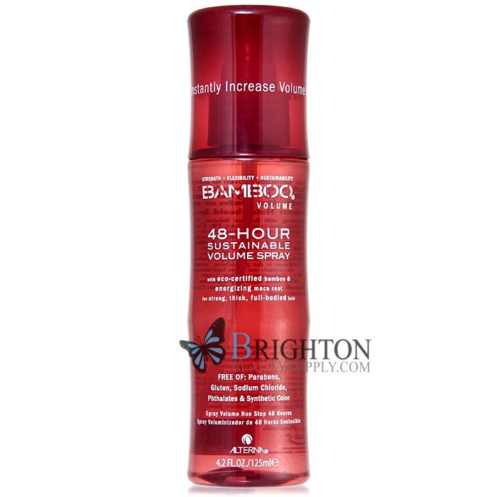 Alterna Bamboo 48 Hour Sustainable Volume Spray.  A lightweight, highly effective spray that is clinically proven to increase volume by 105%.
