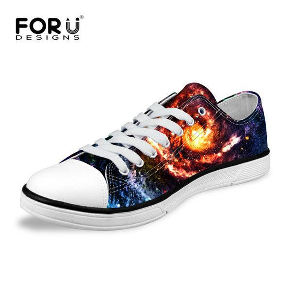 New Fashion Women Canvas Breathable Shoes Galaxy Pattern Lace-up Casual Shoes For Sport Low-top Walking Flat Woman Zapatos Mujer