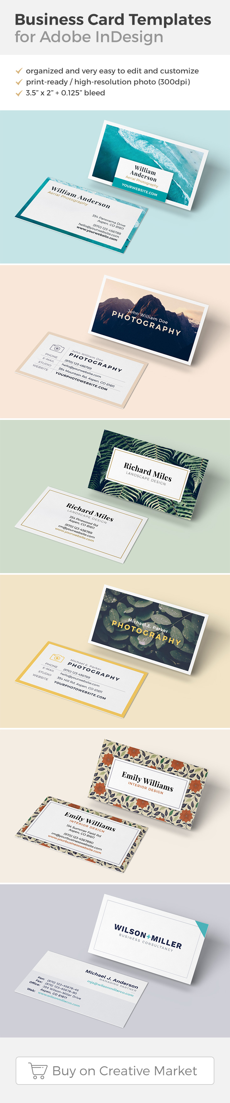 Clean and Elegant Business Card Templates for Adobe InDesign on ...