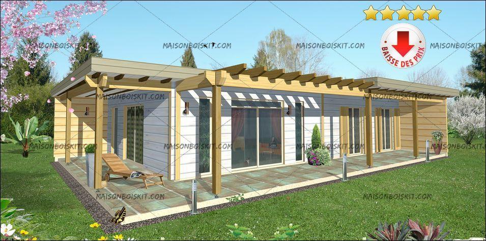 prix maison bois en kit contemporaine 3 chambres Architecture