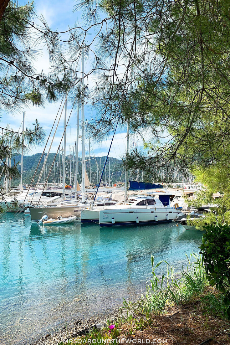 The perfect luxury beach breakaway in Gocek, Turkey. This small coastal town is home to gorgeous beaches, a local beach town, and a fantastic luxury resort. Tips for planning the ultimate luxury vacation including where to stay, how to get there, and when to go. | Mrs O Around the World #Travel #Gocek #Turkey #TurkeyTravel #MiddleEast | Turkey Travel Destinations | Turkey Beach | Turkey Travel Tips | Gocek Turkey Travel Guide