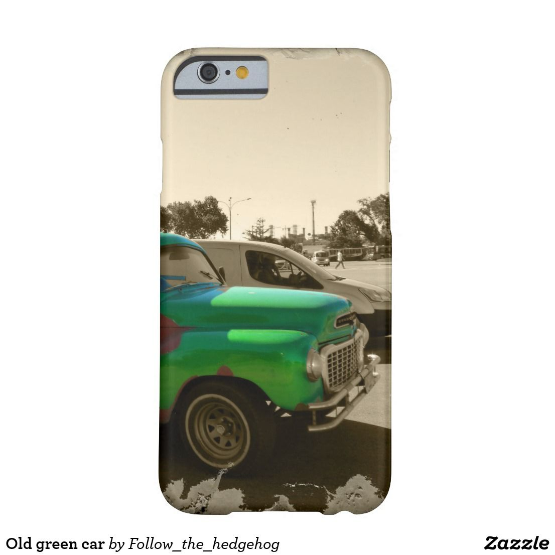 Old green car barely there iPhone 6 case Old and rusty green car The photo is partially sepia with a splash of green color on the old car Picture taken in Montevideo, Uruguay