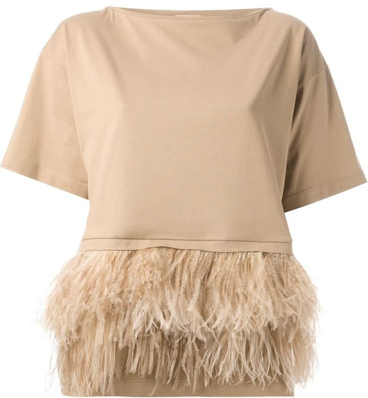 No.21 T-shirt with feather hem on shopstyle.com
