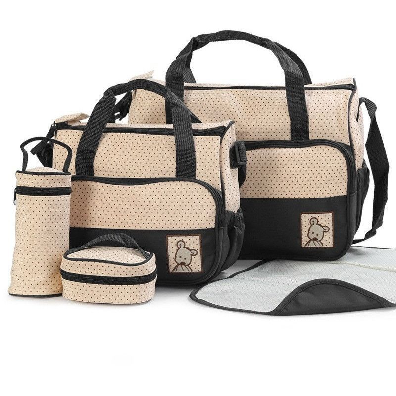 Mushy for Babies - Designer Women Fashion Five In One Diaper Bag - Infant Stuff Storage Bags