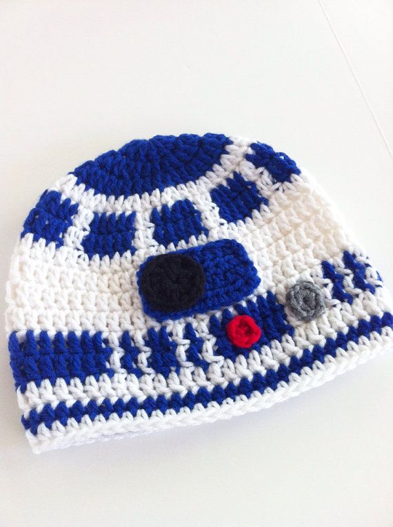 c37f596eec7 Crochet droid inspired character hat for all Sci-Fi fans out there!  Carefully hand crafted details on this beanie! Sizes available  0-3 months