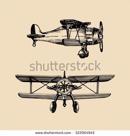 Vintage Airplane Sketch Stock Vectors Vector Clip Art