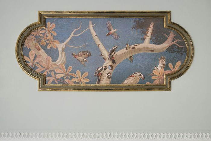 """""""Le Trompe l'Oeil"""" -  <p> a new painted ceiling in the original restored frame high above the stairwell"""