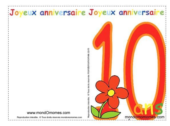 Carte D'invitation Anniversaire Fille 10 Ans Gratuite À Imprimer Inspirational Coloriage Cartes ...