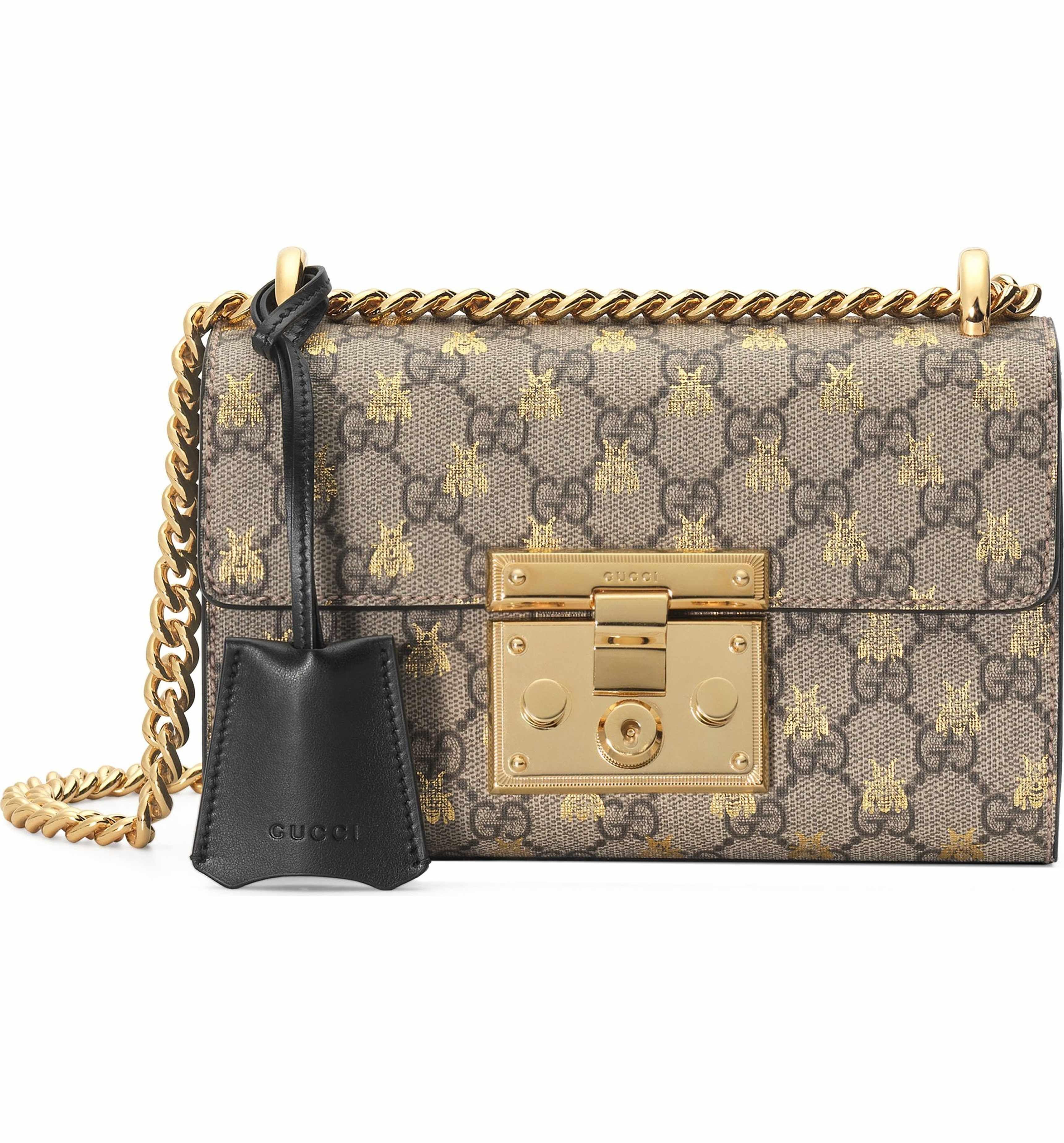 57a155490c57 Main Image - Gucci Small Padlock GG Supreme Bee Shoulder Bag ...