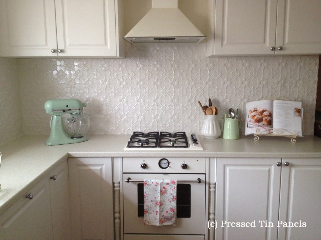 Tin Interiors Bring Vintage Style From Backsplashes To Wallpaper Tin Backsplash Kitchen Kitchen Splashback Tiles Tin Kitchen