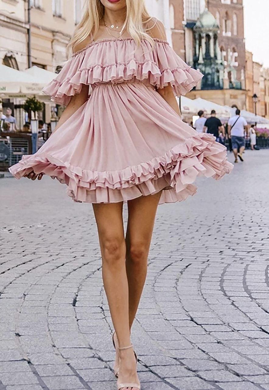 Juberry Boho Romantic Vintage Ruffle Off The Shoulder Baby Doll Chiffon Mini Dress Chiffon Mini Dress Mini Dress Dresses [ 1279 x 884 Pixel ]