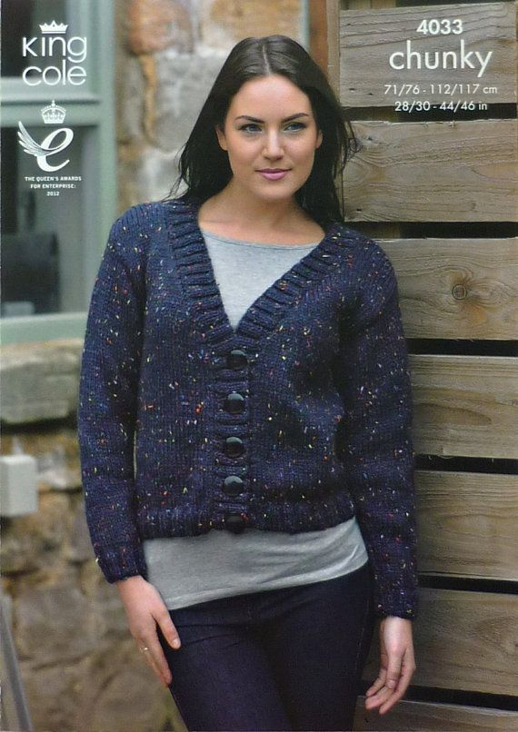Knitting Pattern For Ladies Long Sleeve V Neck Cardigan In Chunky By