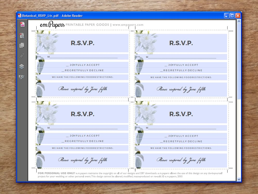 print your own rsvp cards - Pinarkubkireklamowe