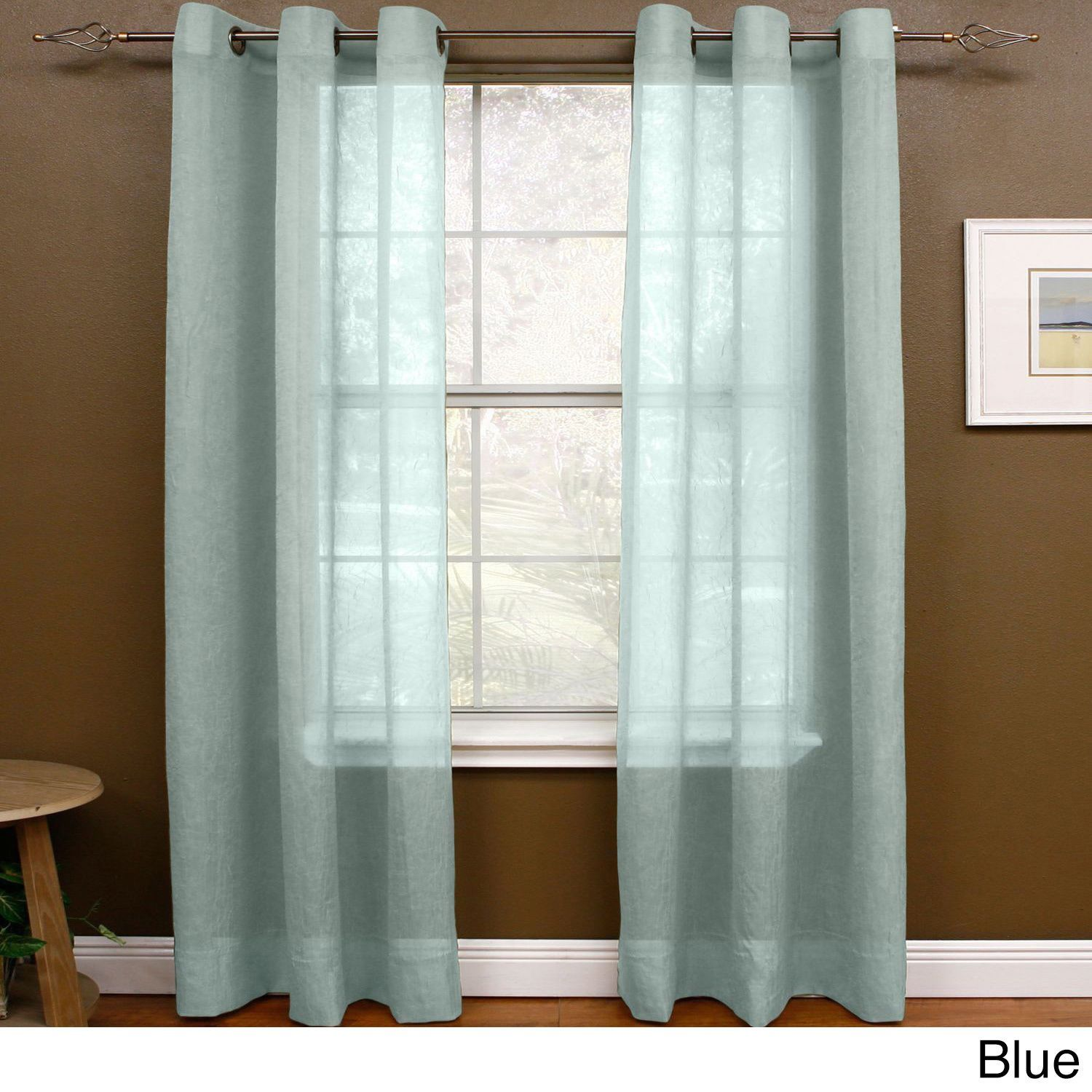 Miller Curtains Preston 63 Inch Grommet Sheer Panel 48 X 63Blue Size Inches Polyester Solid