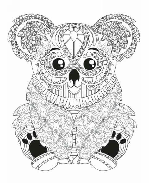 Koala coloring page Adult Colouring Animals Zentangles