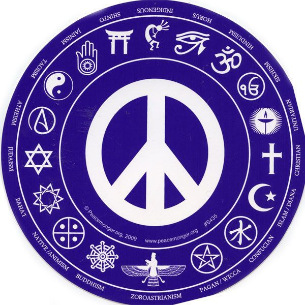 Bms435 interfaith peace round magnetic bumper sticker