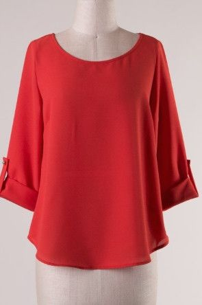 Cuffed Round Neck Woven Top