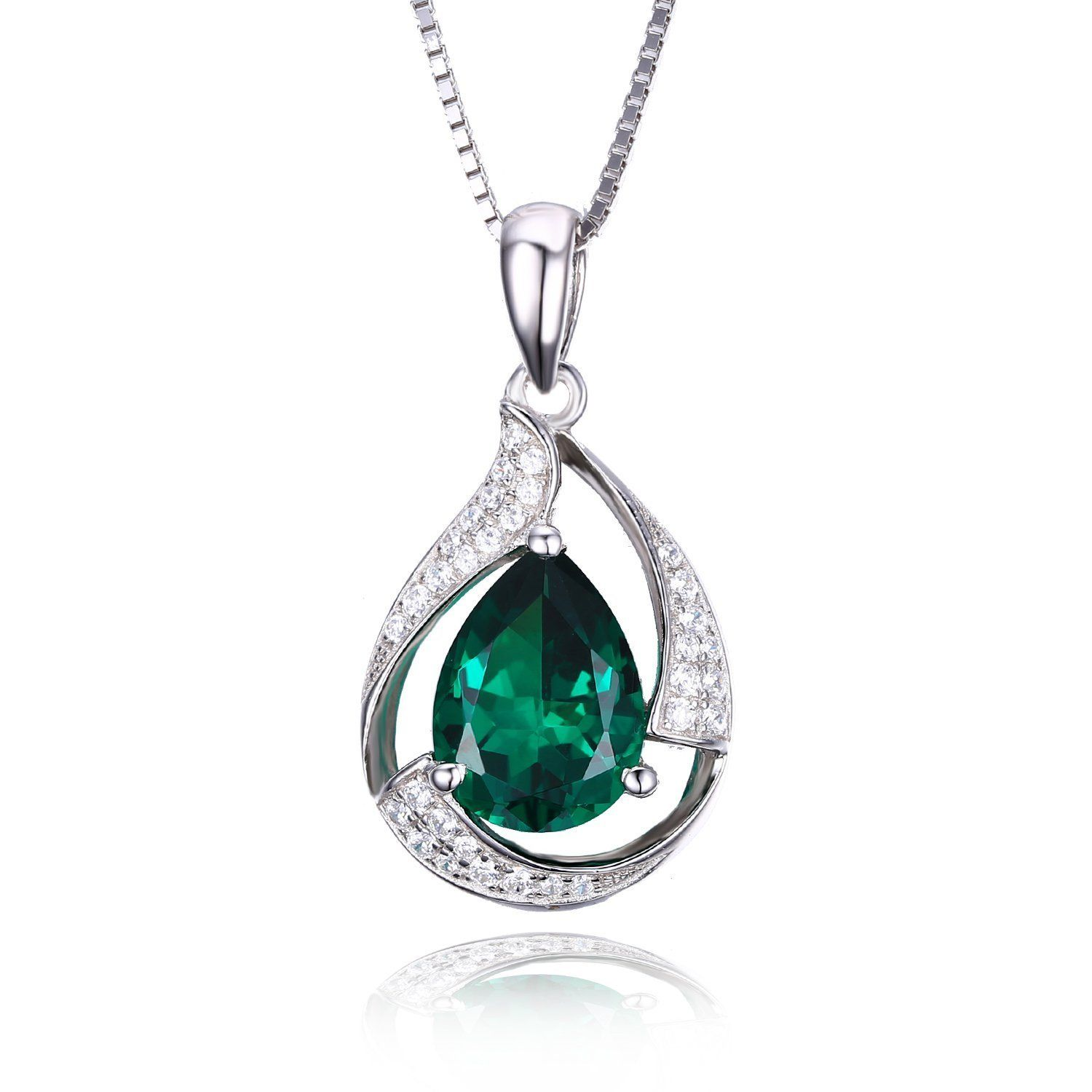 JewelryPalace Pear 2.7ct Simulated Green Nano Russian Emerald 925 Sterling Silver Pendant Necklace 18 Inches 9H9FC6k