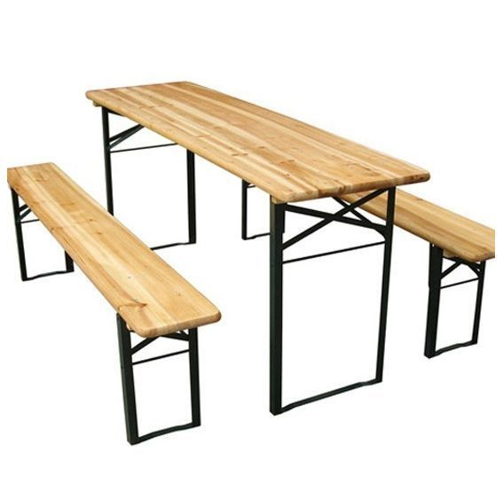 Wooden Garden Table & Bench Set Folding Outdoor Furniture Picnic Family Dinner