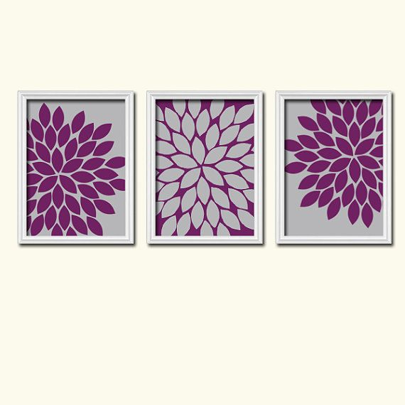 Purple Eggplant Aubergine Kitchen Wall Decor Poster: Grey Eggplant Purple Flower Burst Dahlia Bloom Artwork Set