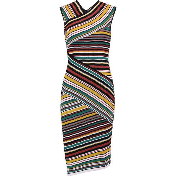 Milly Striped intarsia-knit pencil dress (6,895 THB) ❤ liked on Polyvore  featuring