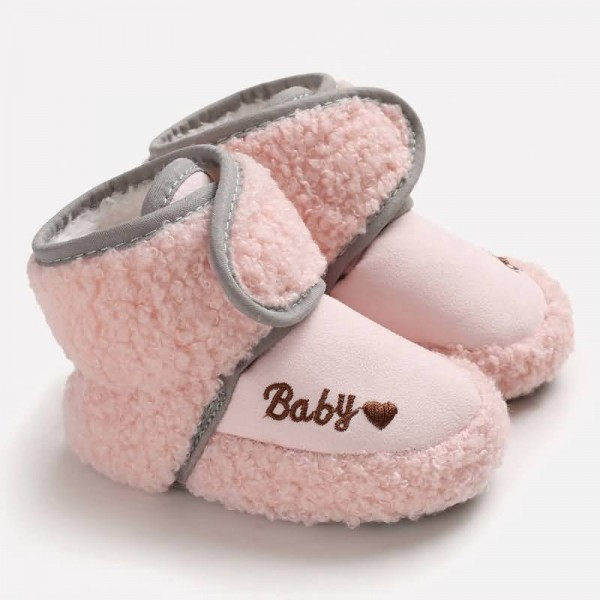 Pink Baby Toddler Polarfleece Letters Velcro Boots Winter Baby Boy Newborn Shoes Baby Shoes