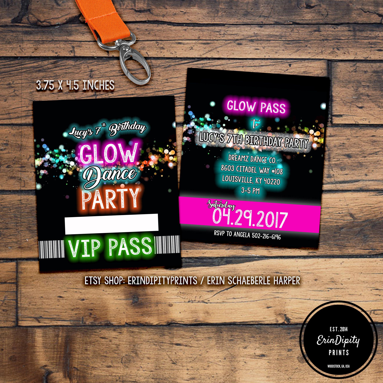 Glow Party Invitation Lanyard VIP Pass (Digital File) (ALL wording ...