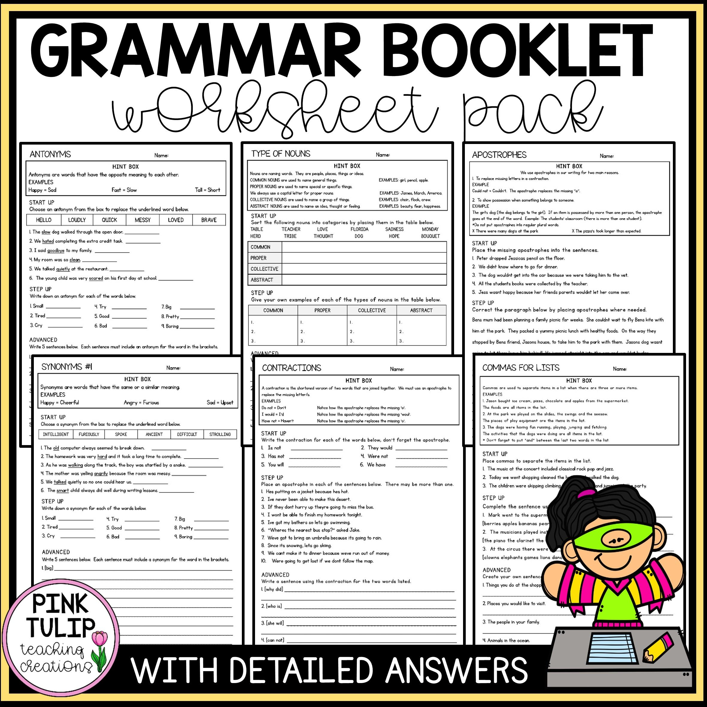 Grammar Booklet Worksheet Pack