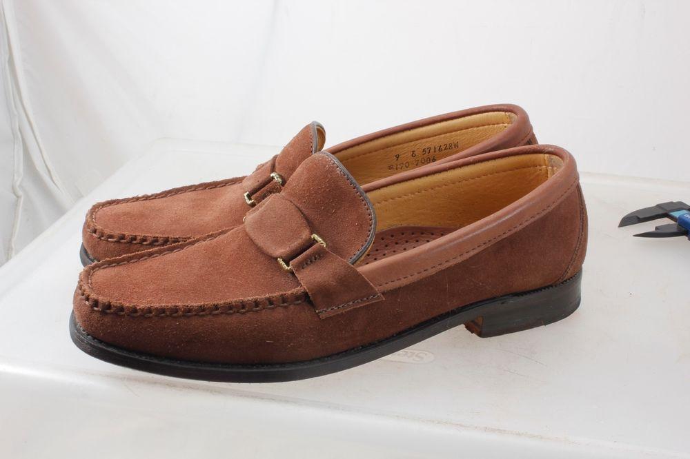 55a30f8708d Sebago Brown Suede Leather Strap Loafers Men Size 9 E USA  Sebago  Strap