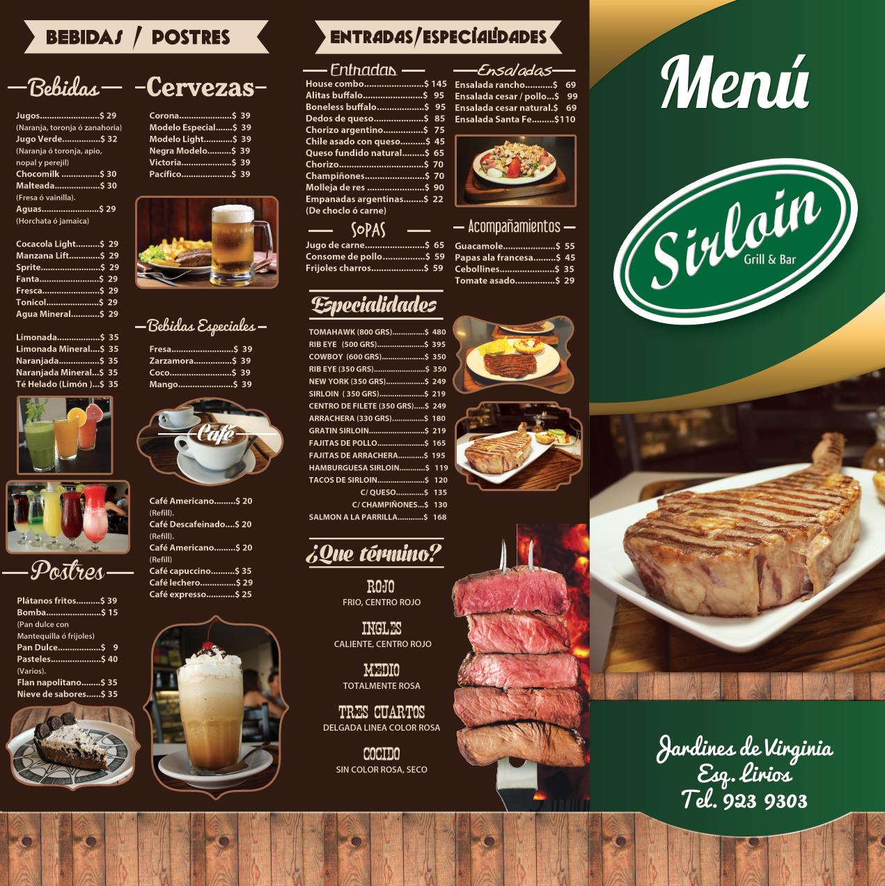 Dise o y fotograf as de alimentos de men para sirloin for Disenos de menus para cafeterias