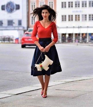 6c7681a35 Look de moda: Jersey de pico rojo, Falda campana azul marino ...