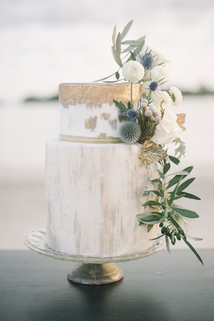 Gorgeous Gold Watercolour Wedding Cake By Make My