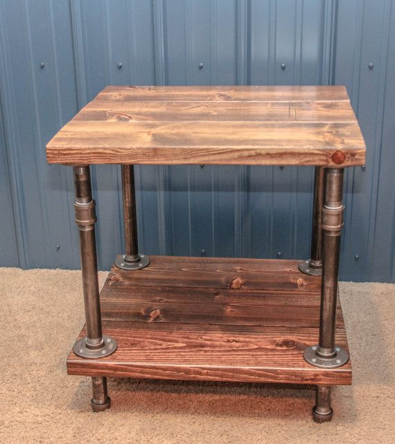 Perfect Industrial Wood And Pipe End Table/Rustic By BCIndustrialTreasure