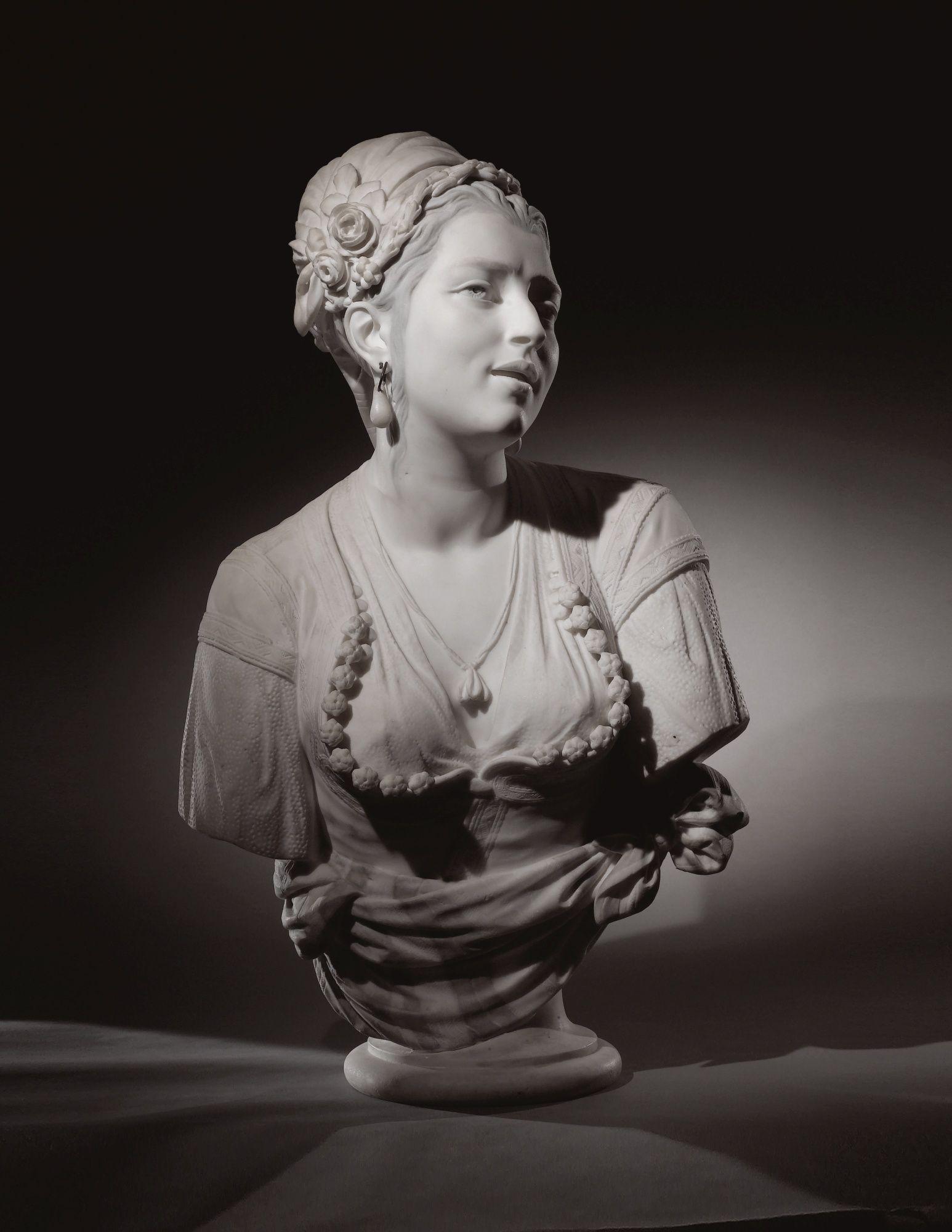 Charles-Henri-Joseph Cordier. FRENCH 1827 - 1905. MAURESQUE D'ALGER CHANTANT (MOORISH WOMAN OF ALGIERS SINGING)