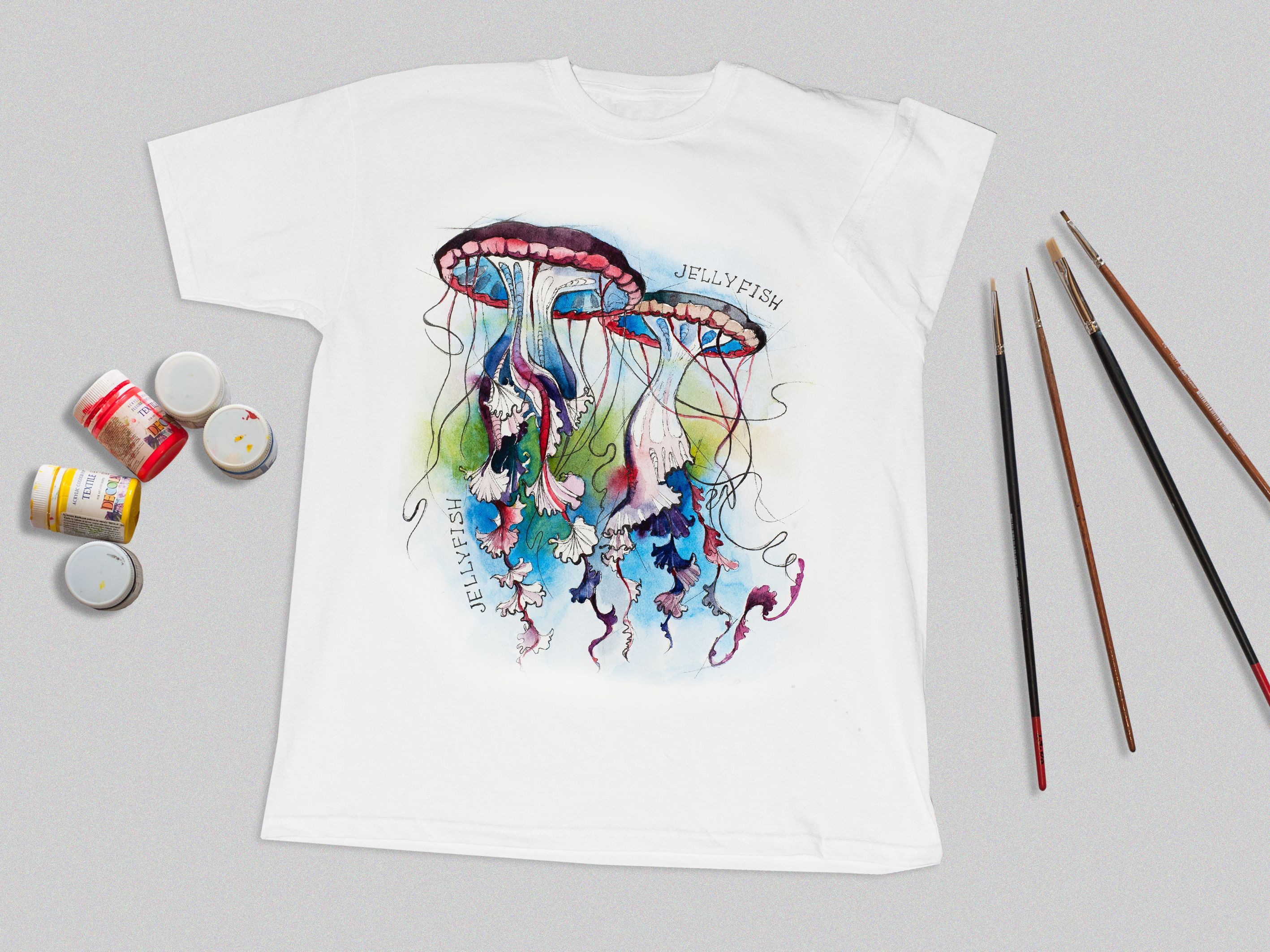 Hand Painted T Shirt Jellyfish Custom Painted Shirt Paint