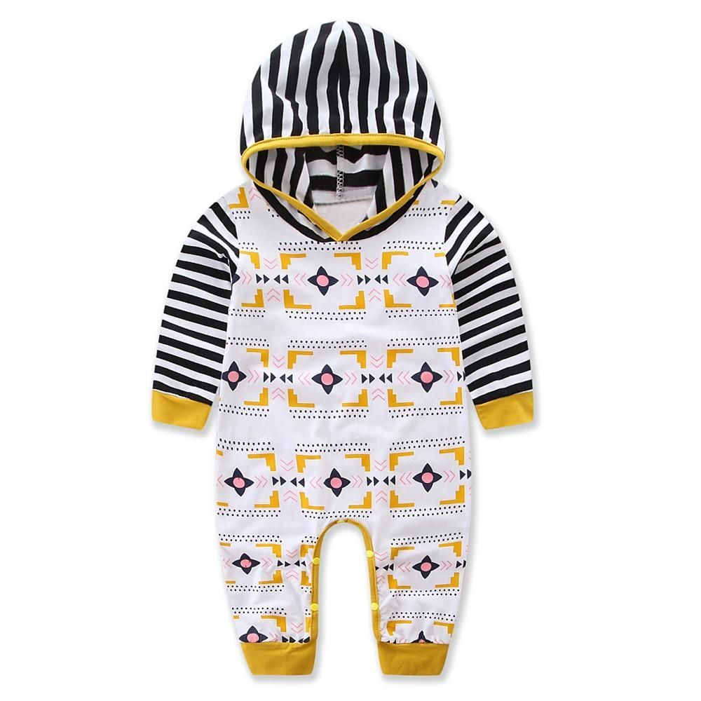 79e188a6643 Pattern And Striped Hooded Romper Cute Baby Clothes