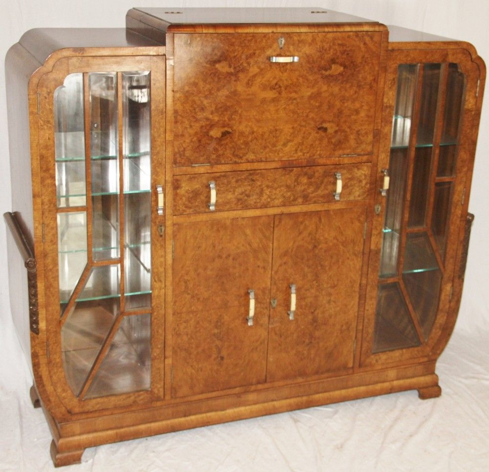 Art Deco Burr Walnut Cocktail Cabinet | Dining Room | Pinterest ...