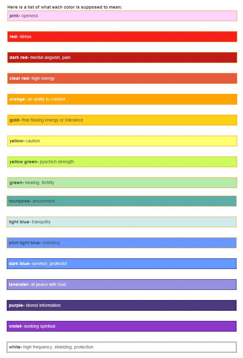 Orb Color Chart Paranormal Pinterest Colour Chart