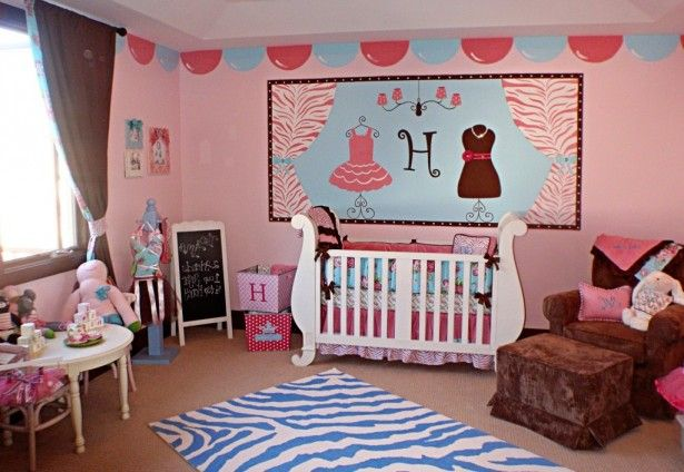 , Baby Bedroom Oval Pink Cute Bedroom Box White Wooden Crib Brown Modern Curtain Zebra Rug Round White Classic Wooden Table Brown Sofa Sweed Chairs Bedding Nursery Toddler Pink Stiker Wall Decal: