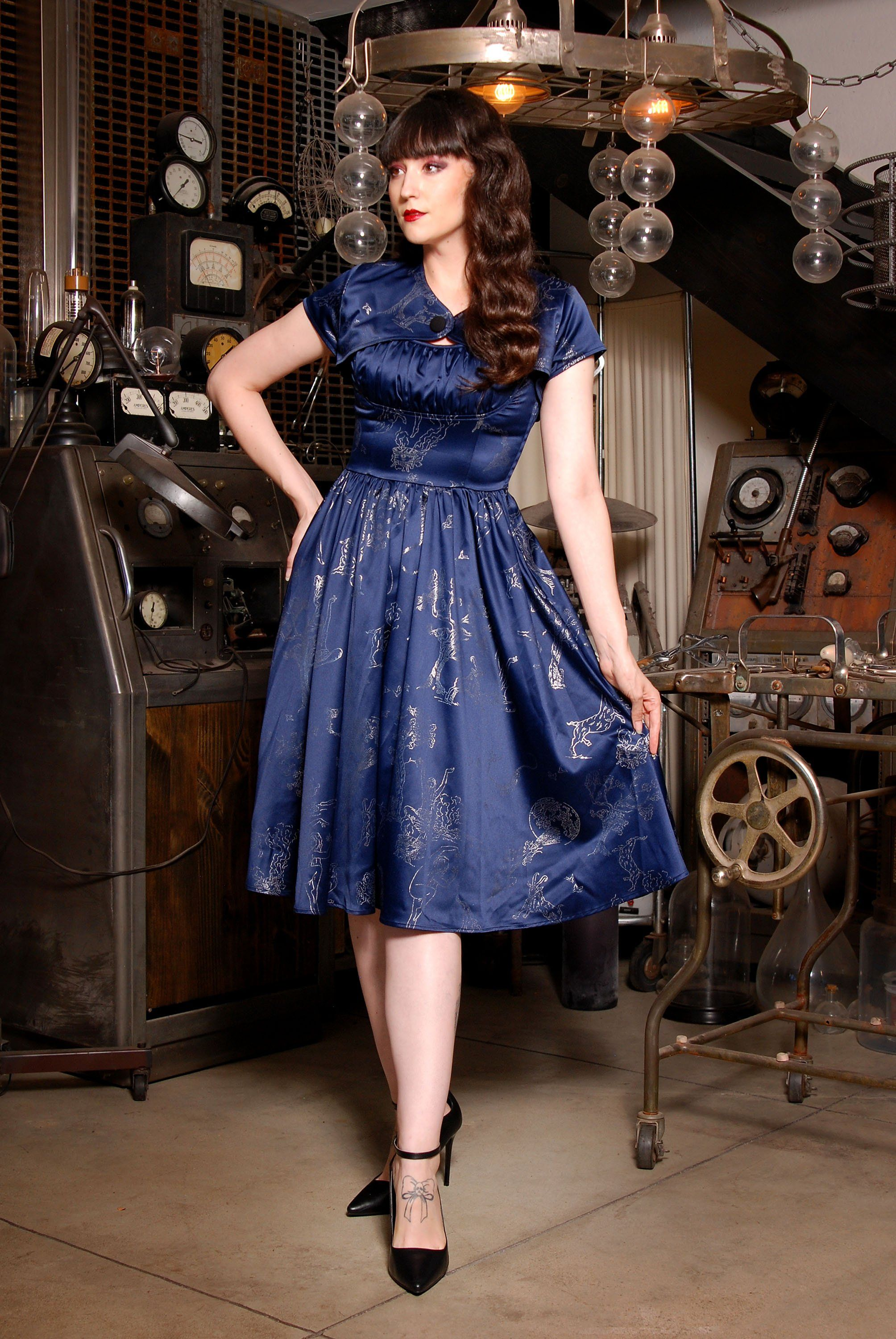 Evelyn Vintage Cocktail Dress In Blue Silver Witchy Toile Satin Pinup Couture In 2021 Cocktail Dress Vintage Vintage Inspired Dresses Vintage Inspired Cocktail Dress [ 3000 x 2008 Pixel ]