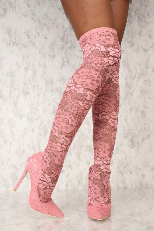 d305596425866 Sexy Pink Embroider Lace Pointy Toe Thigh High Heel Boots