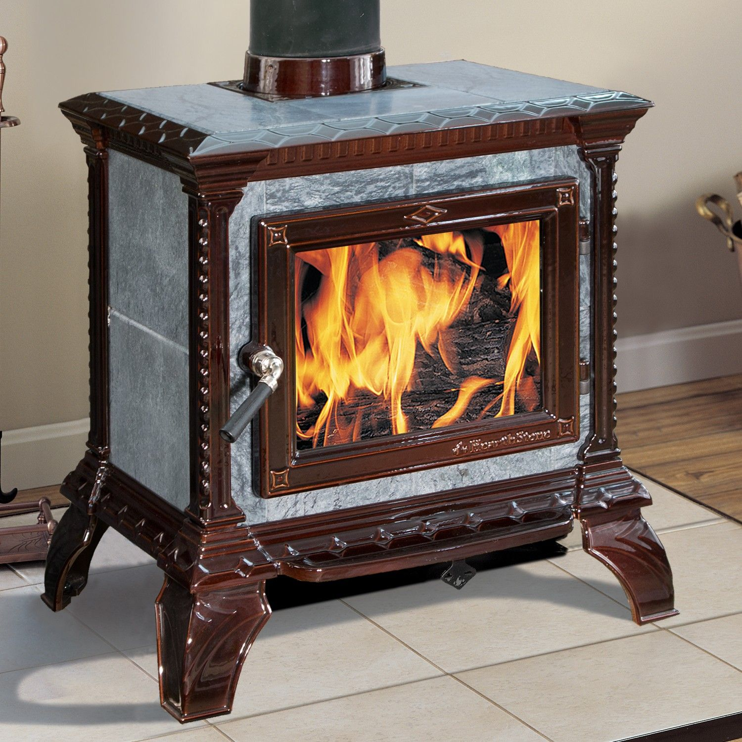 hearthstone tribute 8040 brown enamel and soapstone heats up to