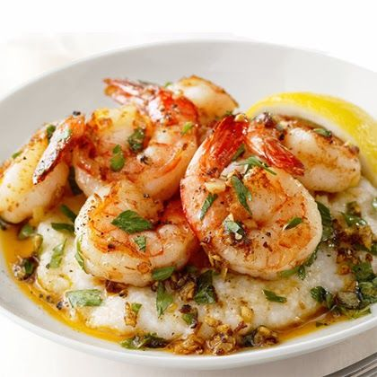 Lemon-Garlic Shrimp and Grits...healthy and yummy. Served with sauteed spinach and a little white wine.