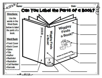 881ba75d1ec823014adcd5d2d123846b can you label the parts of a book? parts of a book pinterest
