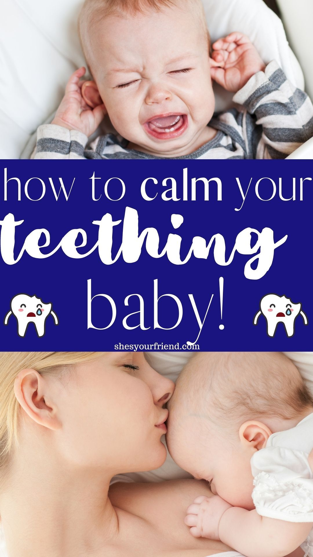 Babies who are teething are fussy and agitated. Learn some helpful tips for soothing your little one. #teethingbaby #sootheteethingbaby #babytips #babyhacks #parentinghacks #newmom #firsttimemom #babyteethingtips
