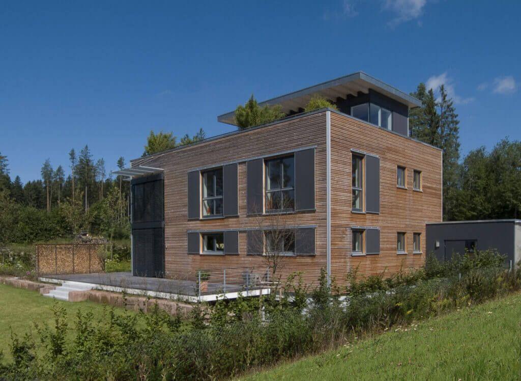 Fassade Modern modern living haus baufritz design holzhaus garten bauhaus holz