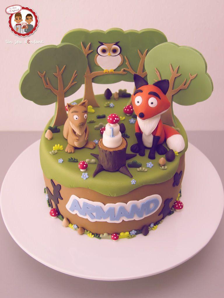 Cake enchanted forest fox squirrel owl Gteau fort enchante
