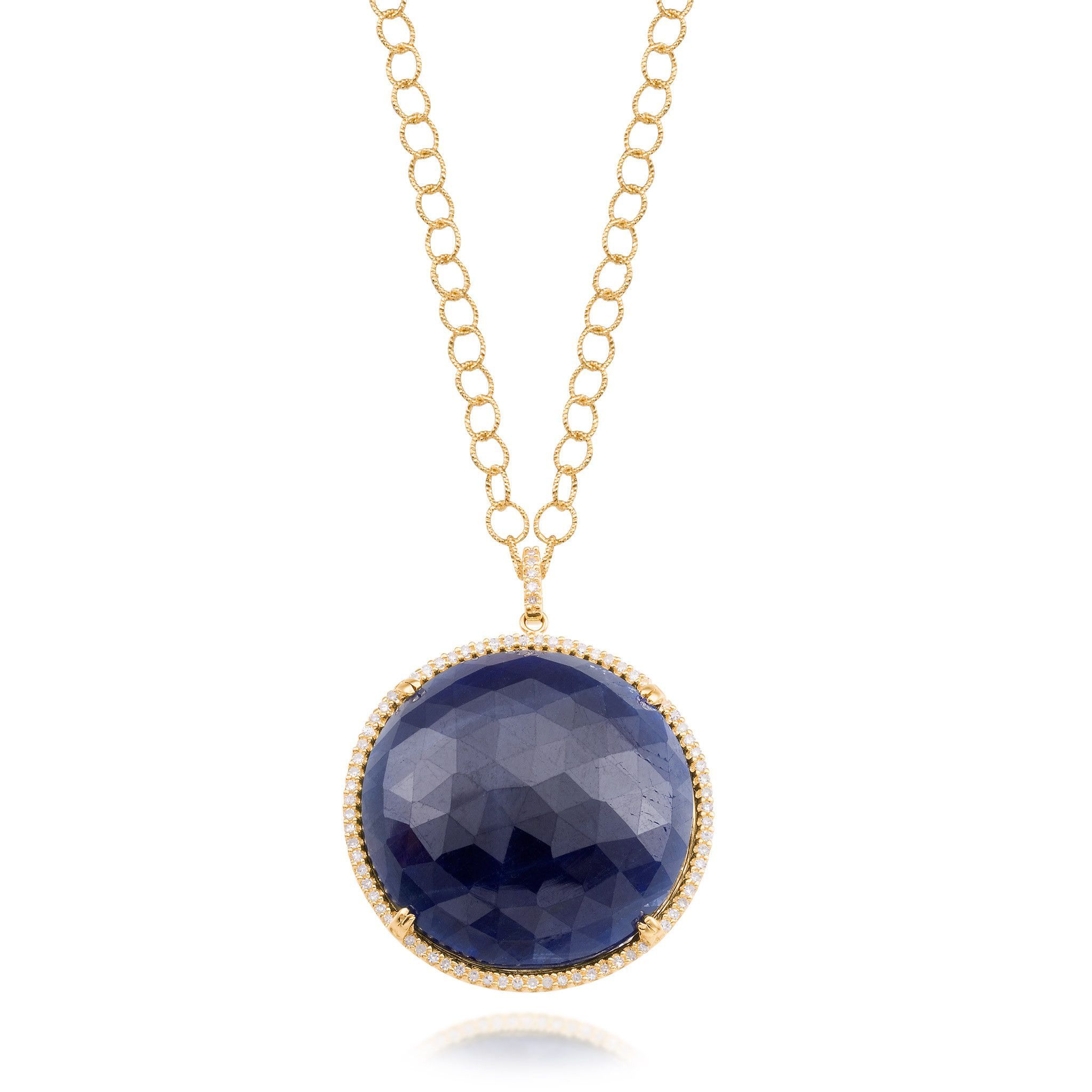 Round Sapphire Pendant Necklace with Diamonds in Yellow Gold