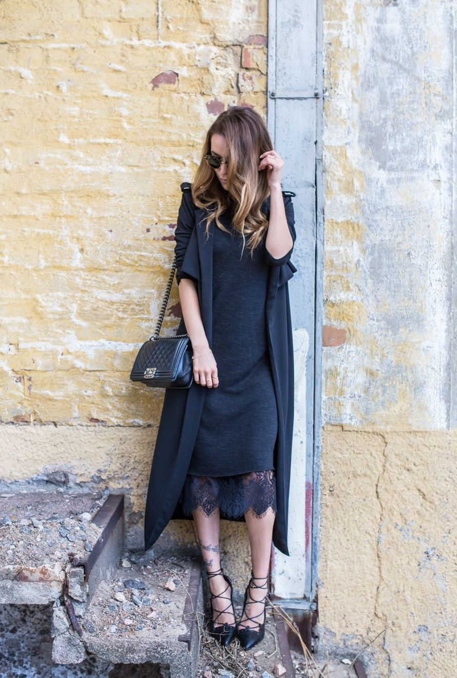Lace dress Zara // Knitted dress Zara // Coat ST. by olcay Gulsen // Shoes Zara // Sunglasses RayBan // Bag Chanel | Julia Toivola