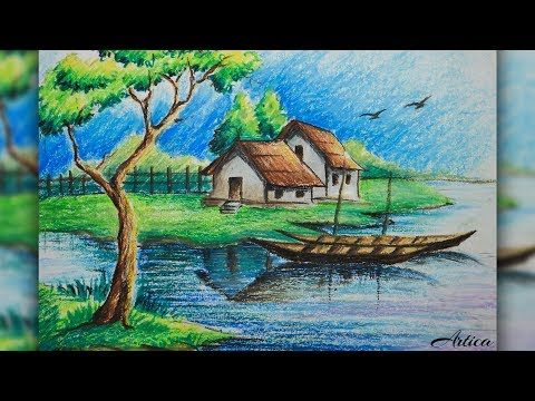 how to draw a village landscape with oil pastel oil